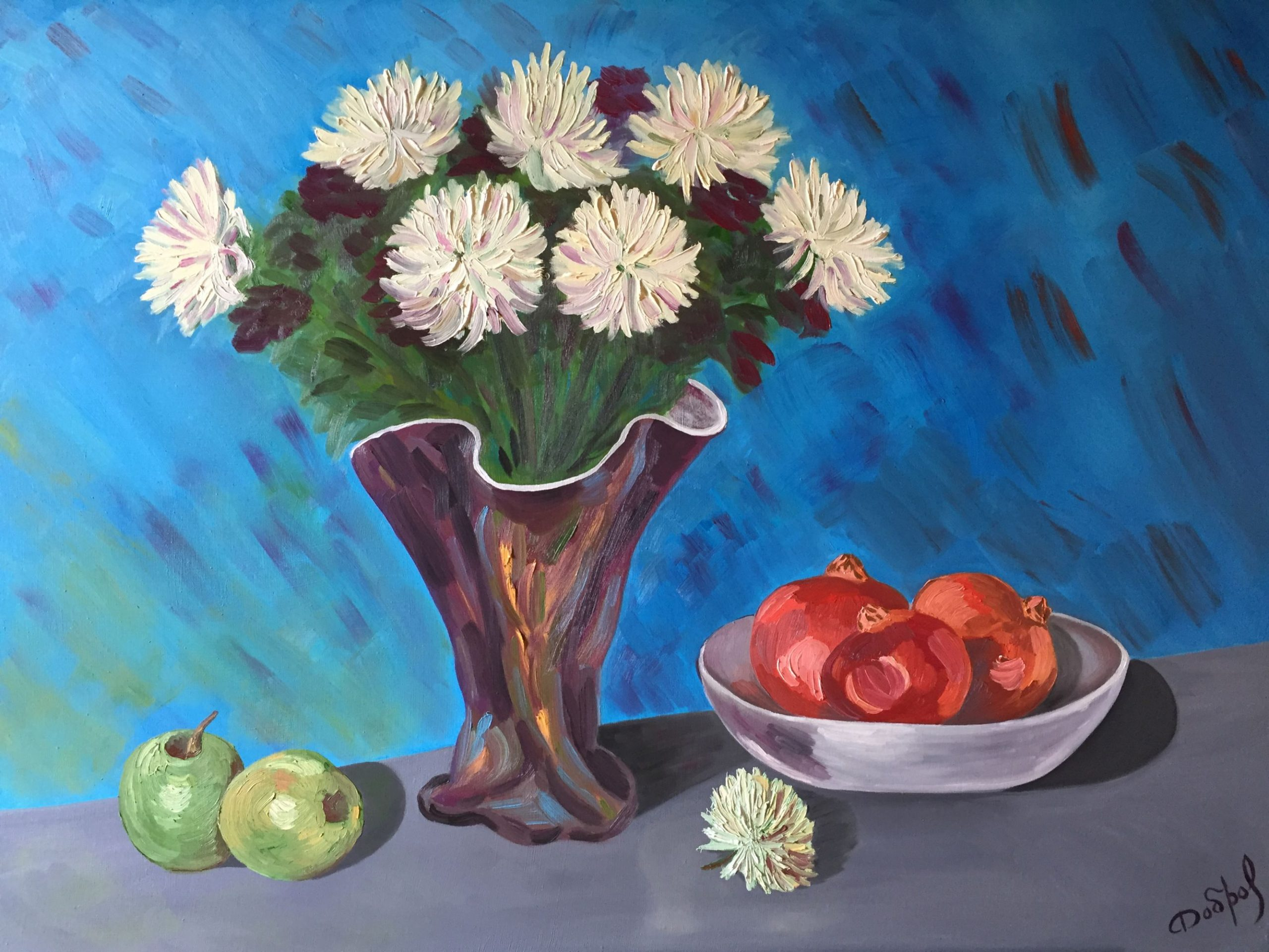 Still Life with White Chrysantemums and Pomegranates