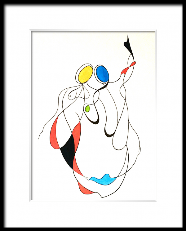 watercolor, ink ,paper, contemporary