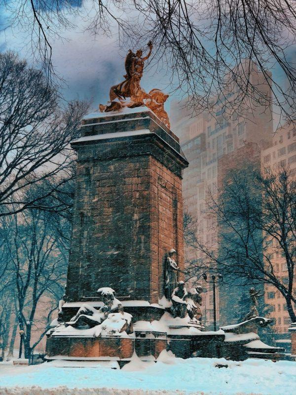 Columbus Circle in the Snow - patricia gilman