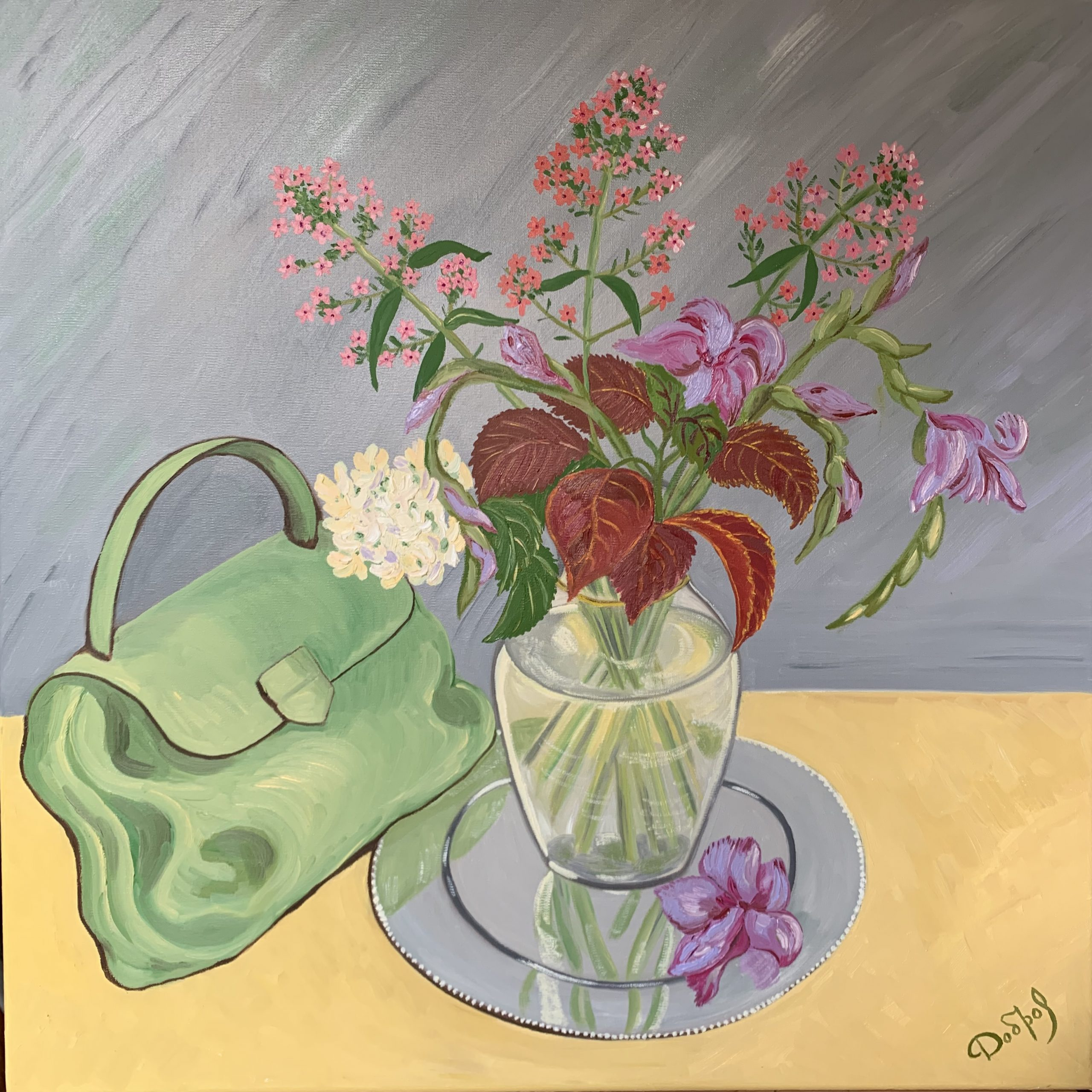 Still Life with a Green Purse and Lilac Gladioluses