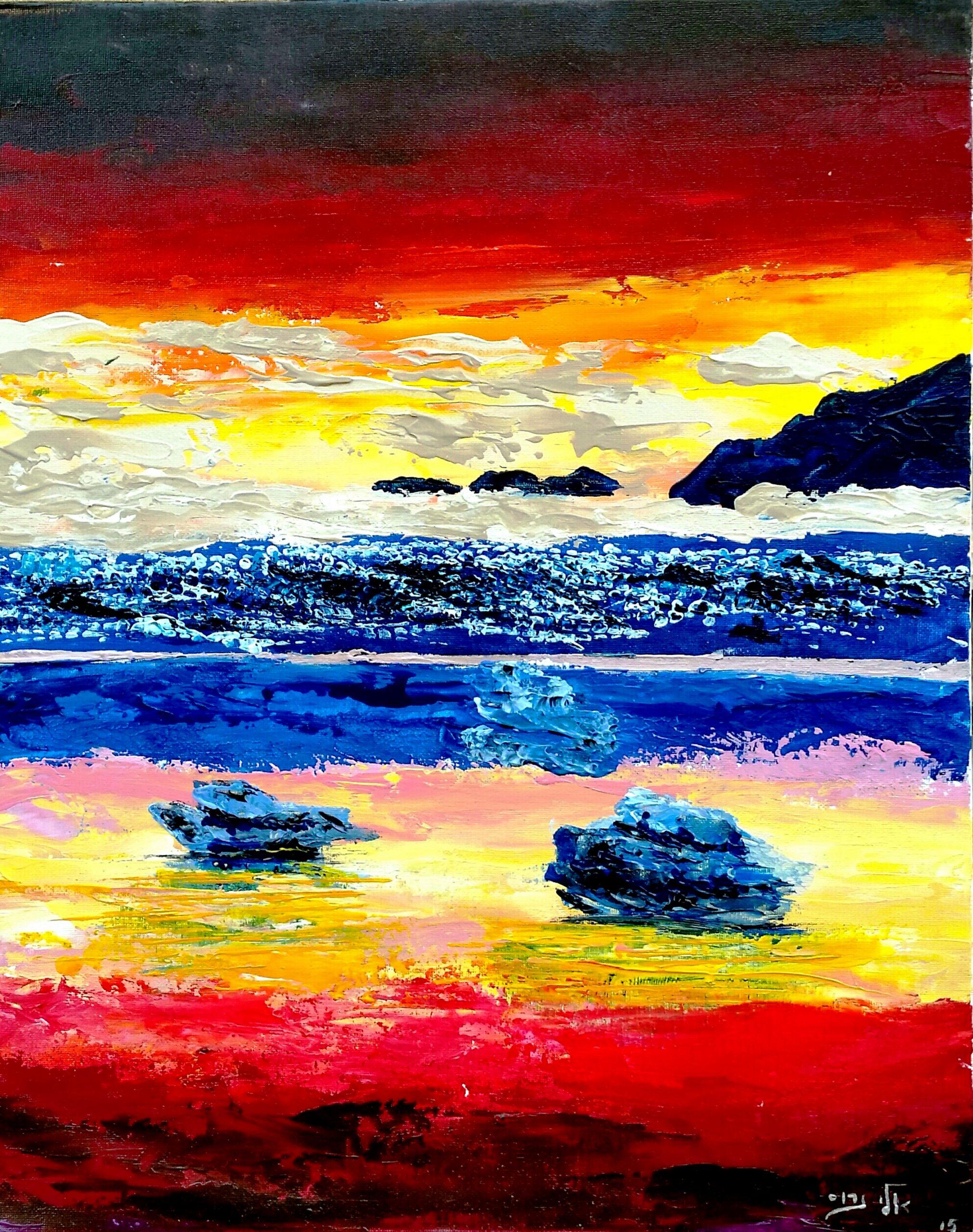 Twilight Glow above Dark Mountains, Crimson Sea Sunset around Small Islets of Sirens
