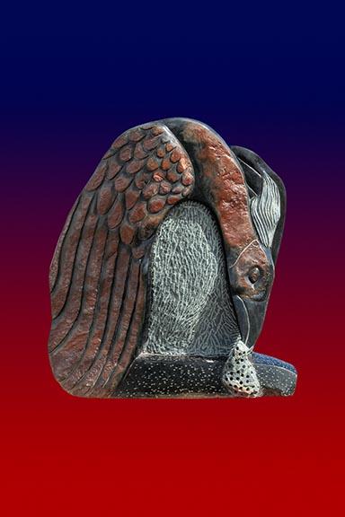 Bird eating sculpture by Gedion Nyanhongo Shona Sculptor