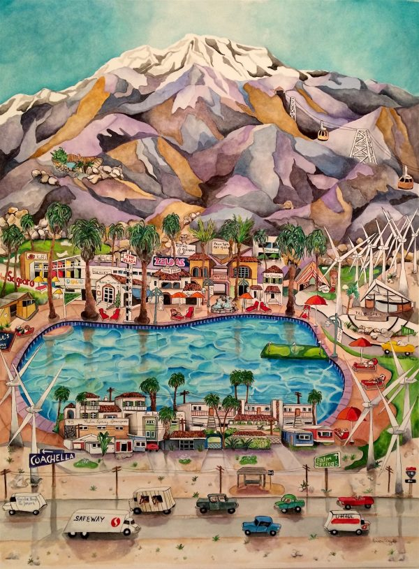 The inspiration for this watercolor painting came from when I used to live in Scottsdale and had to drive every few months to Los Angeles…..and the route took me pass Palm Springs. I also spent lots of time there when I lived in Los Angeles.