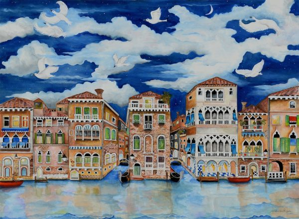 Watercolor of Venice, Italy in the evening.