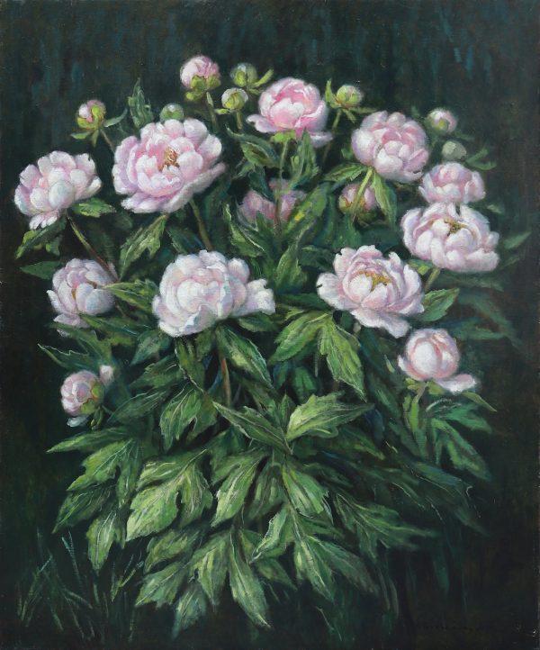 zangar'elena beisembinova_bush of pink peonies