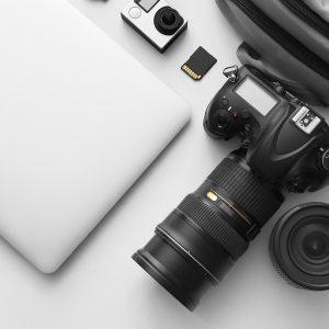 Modern equipment of professional photographer